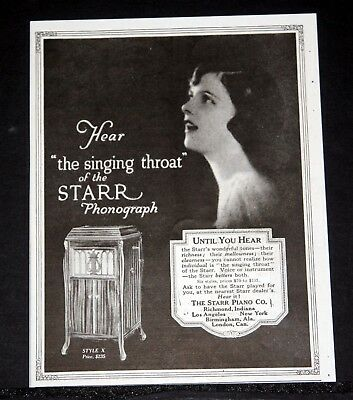 "1919 Old Magazine Print Ad, Starr Piano Co, ""the Singing Throat Of Phonograph""!"