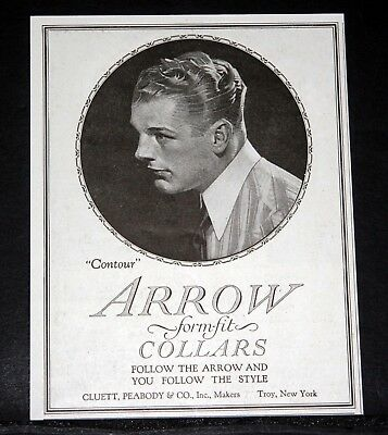 "1919 Old Magazine Print Ad, Arrow ""contour"" Form Fit Collar, Follow The Style!"