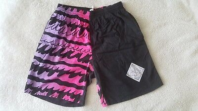 Vintage Swim Shorts Fluro Hot Pink Purple Crazy Abstract Pattern 80s 90s Retro