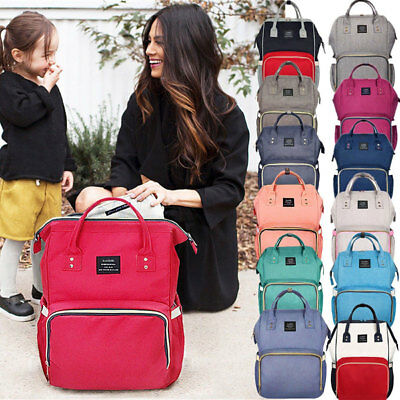 US Large Capacity Mummy Maternity Nappy Diaper Bag Baby Bag Travel Backpack