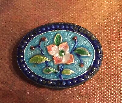 "TINY Antique Chinese copper enamel box 1x.75 "" 3/8"" deep-VERY COLLECTIBLE"