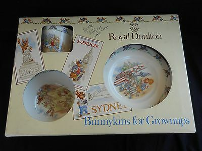 "Royal Doulton Bunnykins nurseryware boxed 4 piece ""Grown-up/Adult set"""