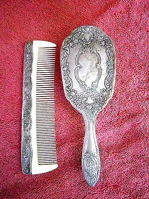 Vintage  Nylon And Metal  Hair  Brush  And  Comb  Set
