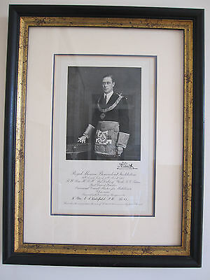 MASONIC PICTURE - King George VI - Ink Signed Award - LODGE NO.65