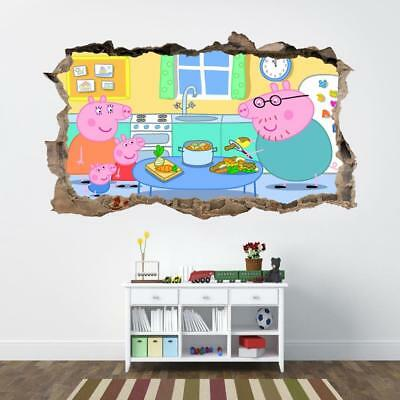 Peppa Pig 3D Smashed Wall Sticker Decal Home Decor Art Mural Kids J674
