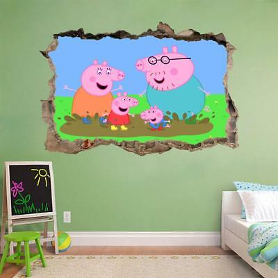 Peppa Pig 3D Smashed Wall Sticker Decal Home Decor Art Mural Kids J675