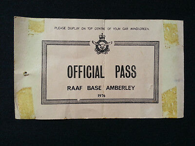 Rare Vintage RAAF Amberley Base Official Pass - 1976