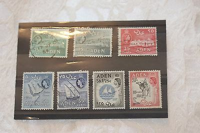 Aden card of stamps - lot 320 part set used
