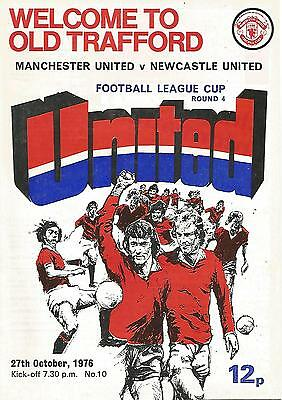 Football Programme  Manchester United v Newcastle United - League Cup - 27/10/76