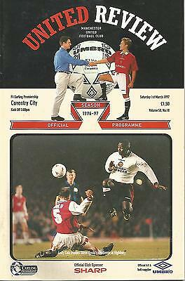 Football Programme - Manchester United v Coventry City - Premiership - 1/3/1997