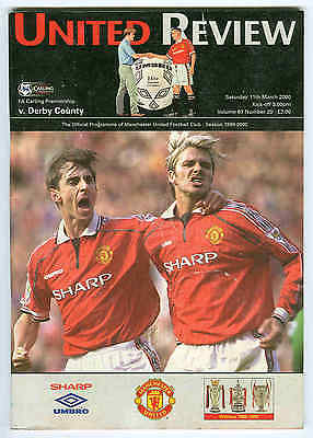 Football Programme - Manchester United v Derby County - Premiership - 11/3/2000