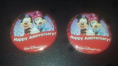 (2) Disney World Happy Anniversary Button Pins (Mickey & Minnie) - RETIRED - NEW