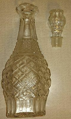 Clear Vintage Diamond Cut Glass Wine Or Whiskey Decanter With Glass Lid