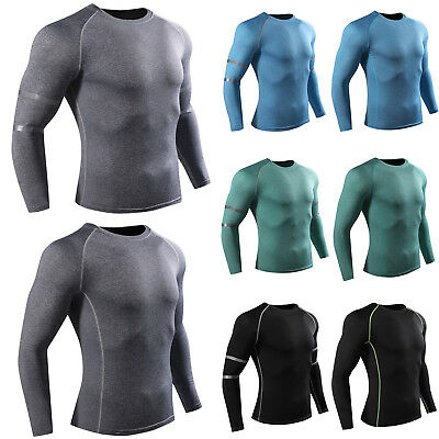 Men Compression T Shirt Long Sleeve Base Under Skin Layer Tight Sport Top Jersey