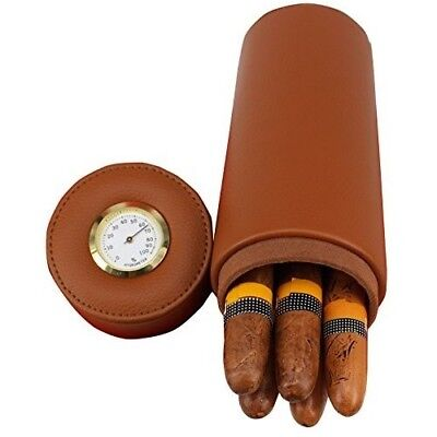 Leather Cigar Canister with Hygrometer Travel Cedar Wood Cigar Humidor Portable