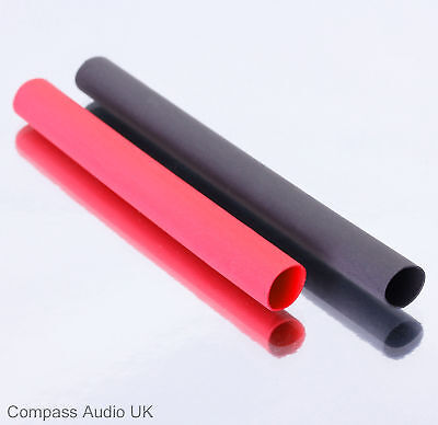 Heat Shrink 6.4mm Tubing for 4mm Plugs, 1m Red/1m Black Heatshrink