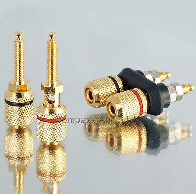4 Heavy Duty BINDING POSTS (2 Pairs) Speaker Sockets fit Banana Plugs Connectors
