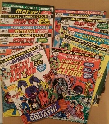 Marvel Triple Action Lot Of 11 High Grade Bronze-Age Comics