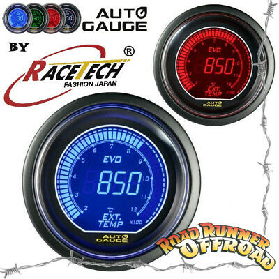 EVO Digial Racetech Autogauge EGT Exhaust Gas Temp Pyro Gauge 52mm BLUE RED