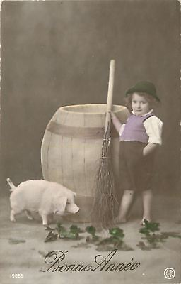 New Year~French Boy With Beer Barrel~Pet Pig~Straw Broom~Colorized RPPC~1908