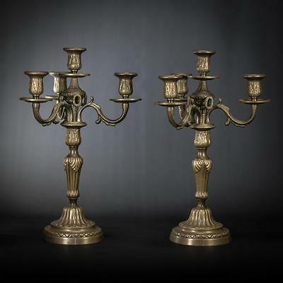 """Pair of French Bronze 4 Tier Arms Candelabras Vintage Candle Holders 16"""" Large"""