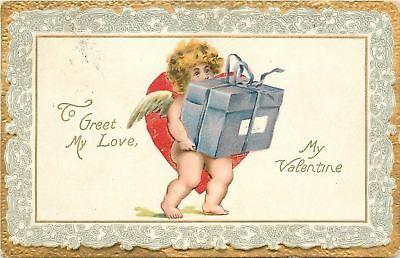 Valentine~Cupid Carries Weighty Package~Lace Border~Emboss~TUCK Cupids Series 1