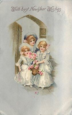 New Year~Three Victorian Girls in White Lace Gowns~Wooden Door~Silver Back~1907