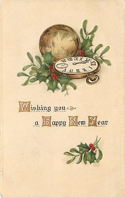 New Year~Gold Pocket Watch Nestled In Holly Berry~Hands Close To Midnight~Emboss