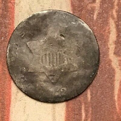 1852 3C Three Cent Silver Piece Vintage US Coin #FD36