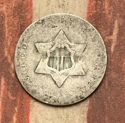 1851-1853 Type 1 3C Three Cent Silver Piece Vintage US Coin #FD38