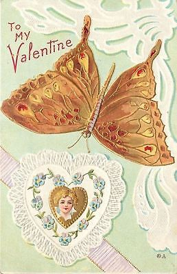Valentine~Golden Butterfly Hovers Over Girl In Lace Heart~Art Nouveau~Emb~Nash