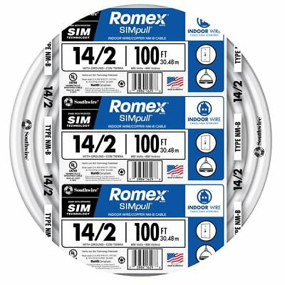 Romex 100' Roll 14-2 AWG Guage NM-B Indoor Electrical Copper Wire Cable w Ground