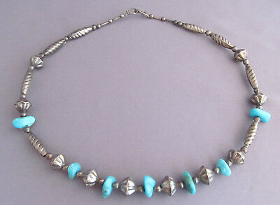 "VINTAGE NAVAJO OLD PAWN BEAD BLUE GEM TURQUOISE NUGGET NECKLACE 16"" 15.5g"