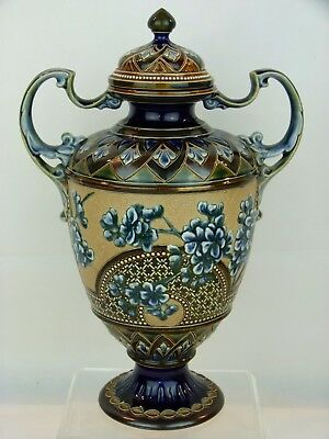 A Truly Outstanding Doulton Lambeth Twin Handled Covered Vase by Eliza Simmance.