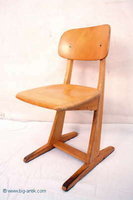 Bauhaus Schulstuhl Kinderstuhl Buche Massiv / Nice German school chair 4 Vorhand