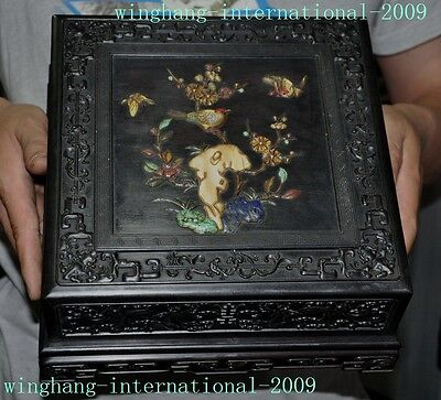 Rare Old Chinese Rosewood inlay Shell Flower Statue Dragon storage Jewelry Boxes