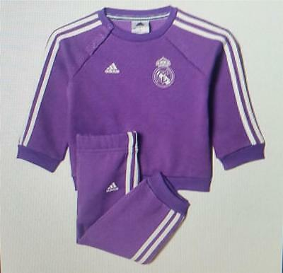 Adidas baby unisex real madrid jogsuit new purple ap1833 purple age 3-6 6-9 9-12