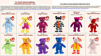 Mcdonalds 11 2004 & One 2000 Millenium Crew Only Teenie Bears