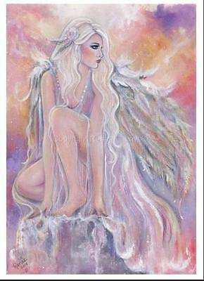 Angel morning sun  greeting card  AND magnet by Renee L Lavoie made in the USA