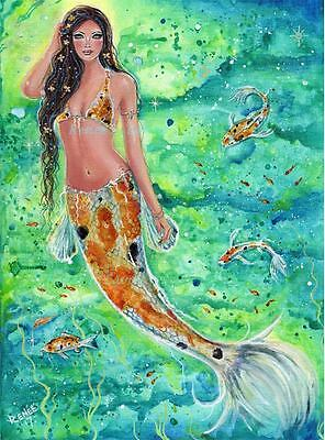 Koi mermaid blossom fantasy art print by Renee L Lavoie made in the USA