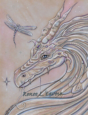 Dragon dragonfly beautiful fantasy art print by Renee L Lavoie made in the USA