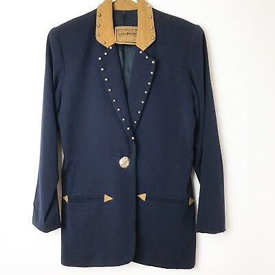 Saddle Ridge Vtg Collection Blazer Costume Blue  Wool & Suede Reenactment H14