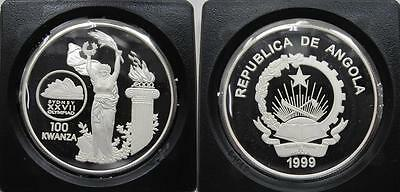 1999 Angola Nike Goddess 100 kwanzas Sydney Olympic Games Proof Silver COIN