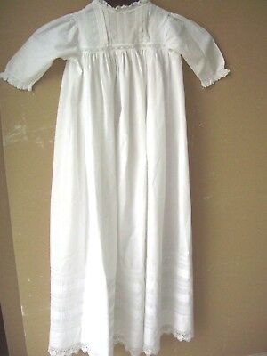 "Lovely  Vintage Baby Christening Baptism Gown Robe Long Cotton Lace 38""long"