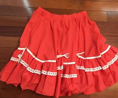 Vtg Partners Please Malco Modes Red and White Square Dance Skirt Womens M