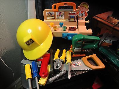 VINTAGE Bob The Builder Tool Set with Helmet & MUSICAL LIGHT UP BENCH