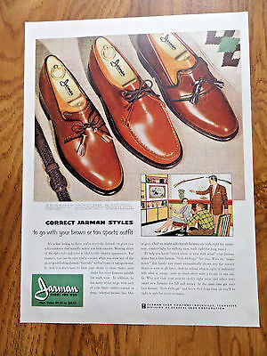 1957 Jarman Shoe Shoes Ad Styles to go with your Brown Tan Sports Outfit