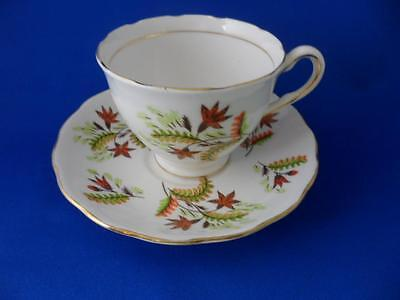 Teacup & Saucer~COLCLOUGH Bone China England #6799~Orange Green Autumn Leaves