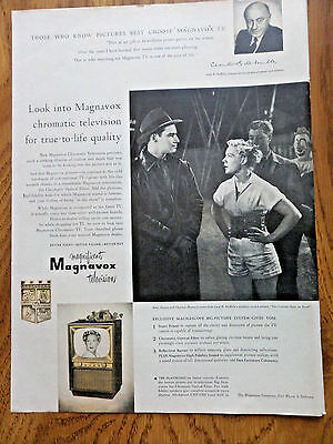 1953 Magnavox TV Television Ad  Movie Hollywood Stars Hutton & Heston