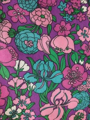 Vintage Polyester Fabric, 1970s, Pink, Purple, Flowers, Sewing, Dressmaking, 5m